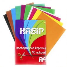 Картон кольоровий А4 Тетрада 10 аркушів
