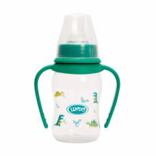 Пляшечка для годування Lindo Li 146 вигнута з ручками та силіконовою соскою 125 мл