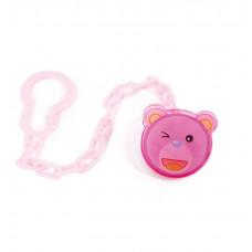 Ланцюжок для пустушки пластиковий Lindo Pk 216 на кліпсі Кiт рожевий