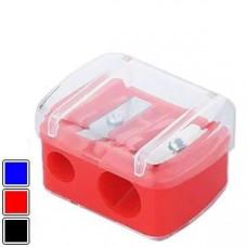 Точилка косметична подвійна з контейнером синя Luxury PS-01