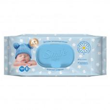 Дитячі вологі серветки Smile Baby з екстрактом ромашки, алое і вітамінним комплексом 100 шт (клапан)
