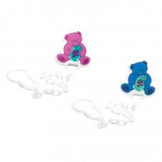 Ланцюжок для пустушки пластиковий Lindo Pk 016 на кліпсі  Медведик