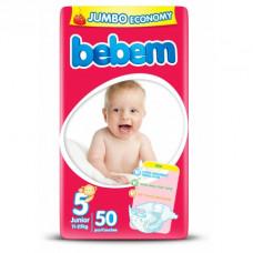 Підгузки Bebem розмір 5 junior 11-25 кг JUMBO PACK 50 шт