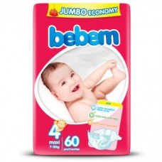 Підгузки Bebem розмір 4 maxi 7-18 кг JUMBO PACK 60 шт
