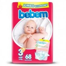 Підгузки Bebem розмір 3 midi 4-9 кг JUMBO PACK 68 шт