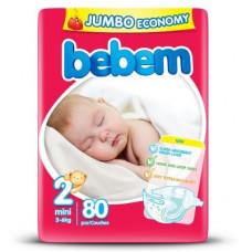Підгузки Bebem розмір 2 mini 3-6 кг JUMBO PACK 80 шт