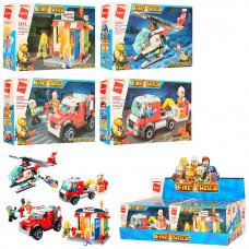 Конструктор 2801-2804 пожеж., транспорт/будівля, фігурки, 88дет., 8шт.(4види), диспл., кор