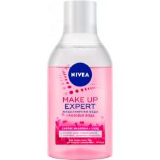 Міцелярна вода Nivea Make Up Expert + рожева вода для зняття макіяжу для обличчя, очей і губ без змивання 400 мл