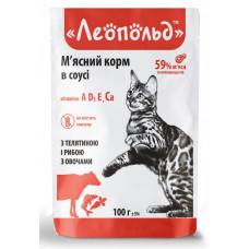 Вологий корм для котів Леопольд Мясний корм в соусі з телятиною і рибою з овочами 100 мл
