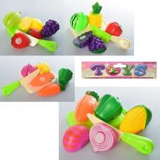 Продукти CY-055-6-7-8 на липучці, 4 шт. (овочі, фрукти), дощечка, ніж, 4 види, кул., 19-18