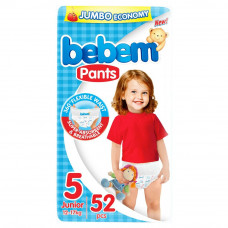 Підгузки-трусики Bebem розмір 5 junior 12-17 кг JUMBO PACK 52 шт