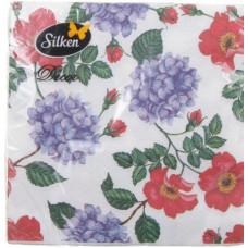 Серветки столові Silken 2 шари Гортензія з шипшиною 18 шт