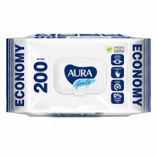 Вологі серветки Aura Family освіжні 200 шт