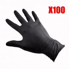 Рукавички  Gloves нітрилові чорні S 100 шт