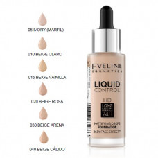 Рідка тональна основа Eveline Cosmetics №015 light vanilla серії LIQUID CONTROL 32 мл