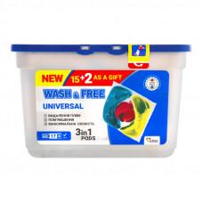 Капсули для прання WASH&FREE 4в1 Universal 17 шт