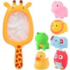 Іграшка 7729-6C для купання, сачок-жираф, тварини 6 шт., сітка, 16-30-6,5 см