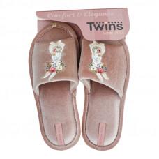 Капці домашні HS-VL Twins велюр з наліпкою бежеві р.36/37