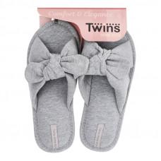 Капці домашні HS-VL Twins бант-перехрест сірі р.36/37