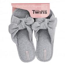 Капці домашні HS-VL Twins бант-перехрест сірі р.38/39