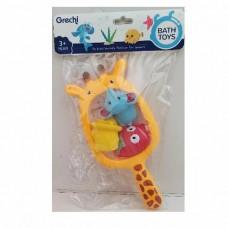 Іграшка G402-1 для купання, жираф-сачок, тварини 3 шт., кул., 20-32-6 см