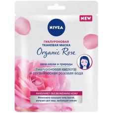 Гіалуронова тканинна маска Nivea Organic Rose з гіалуроновою кислотою і органічною рожевою водою