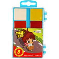 Фарби акварельні Гамма  Travel Kids 8 кольорів у пластиковій упаковці без пензлика